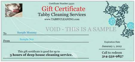 House cleaning specials for christmas tabby gift certificate front sample 3 yelopaper Choice Image